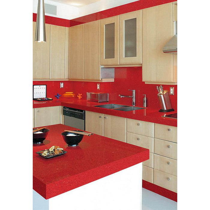 Quartz kitchen countertops India Red