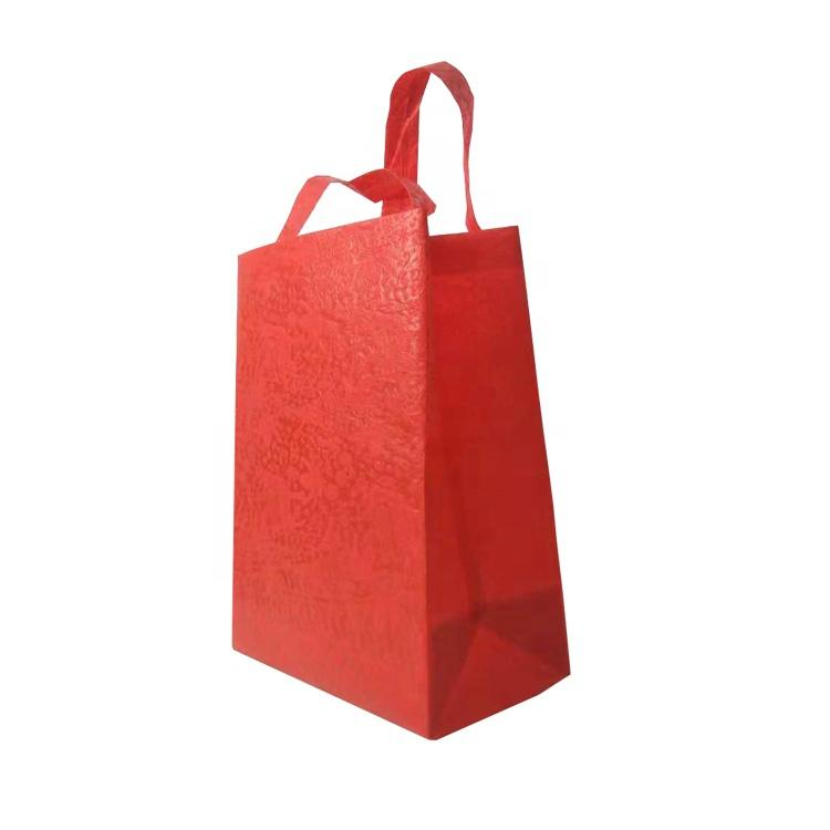 PP Embossed Nonwoven Bags Red Color Handle Bag Non woven Tote Shopping Bags