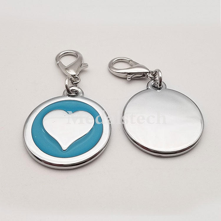 Hot selling custom colorful stainless steel metal blank laser logo heart shape pet collar dog id tag for dog cat