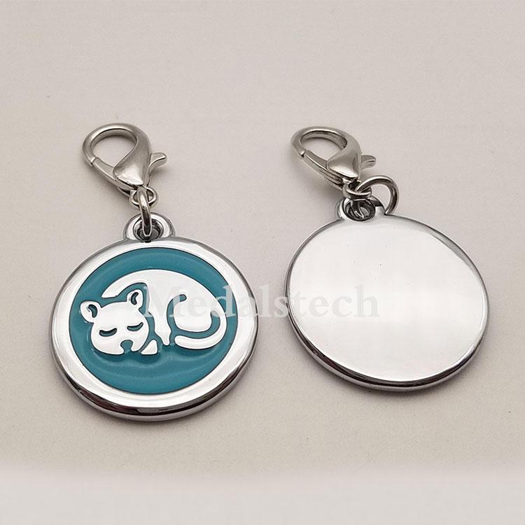 Hot Sale Custom Brass Emboss Cat Logo Laser Engraved Cat Dog Name Tag Pendant for Dog