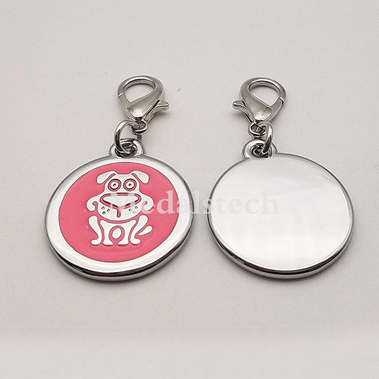 Wholesale Pet Id Tags Personalized Round Brass Dog Pendant Blank Name Silicone Collar Pet Name Tag Metal