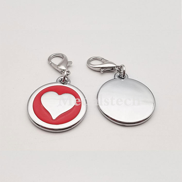 Custompet id tag stainless steelidentification heart pet dog tag pendant for zipper