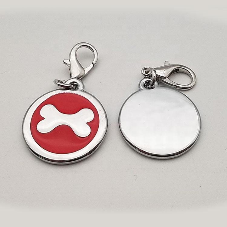 Dongguan Wholesale in stock soft enamel zinc alloy round bone shape logo printed pet id tags for dog gifts