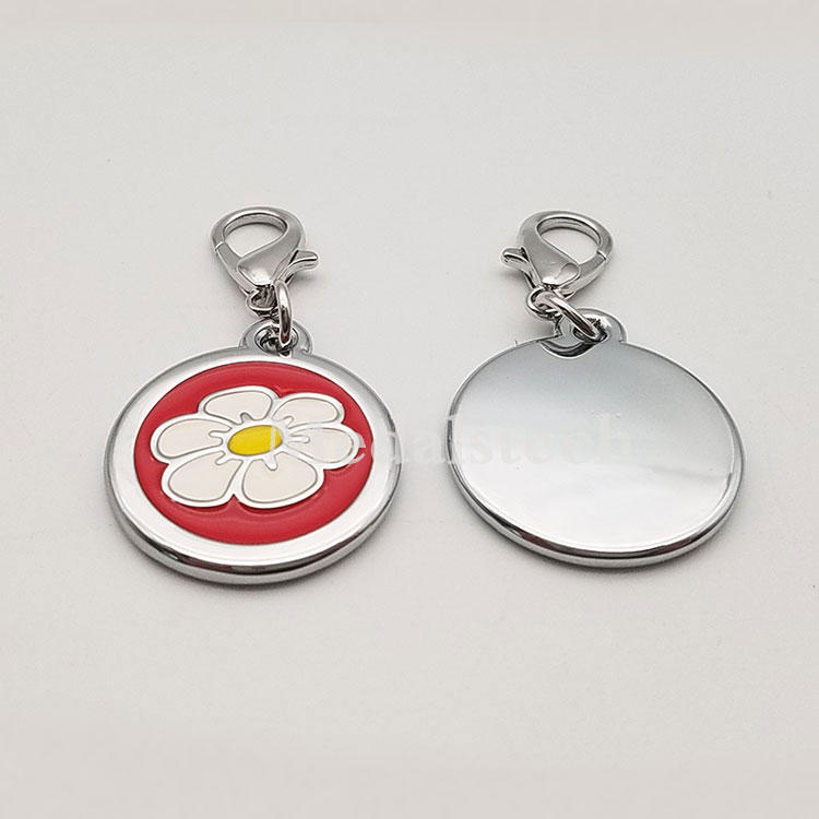 Little Daisy Shape Round Shape Alloy Metal Silver Plated Soft Ennamel Dog Tag/Qr Code Pet Tags