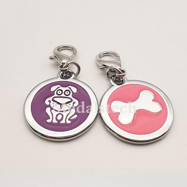 Noble purple color filled zinc alloy metal brass custom round coin collar dog cat pet id tag with blank smooth black