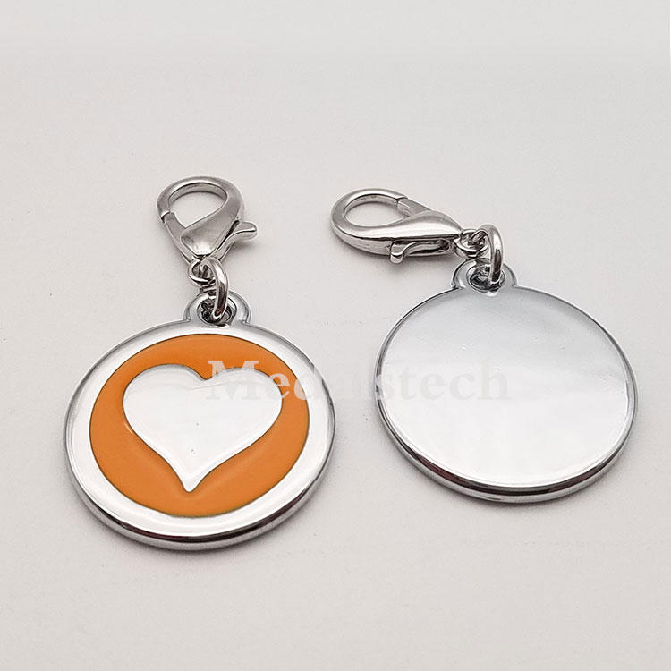 Wholesale zinc alloy metal heart id pendant plate engrave custom qr code pet tag for necklace