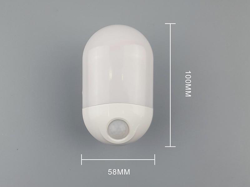 OEM HWX-02 Intelligent light control human body infrared sensor LED night light plug in wall lamp