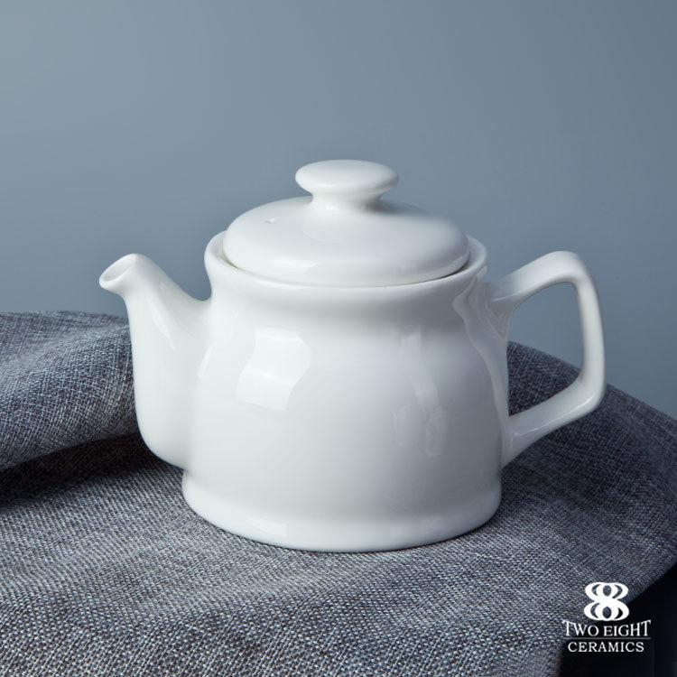 Pop design chinese cheap 1100ml white ceramic teapot for banquet hall