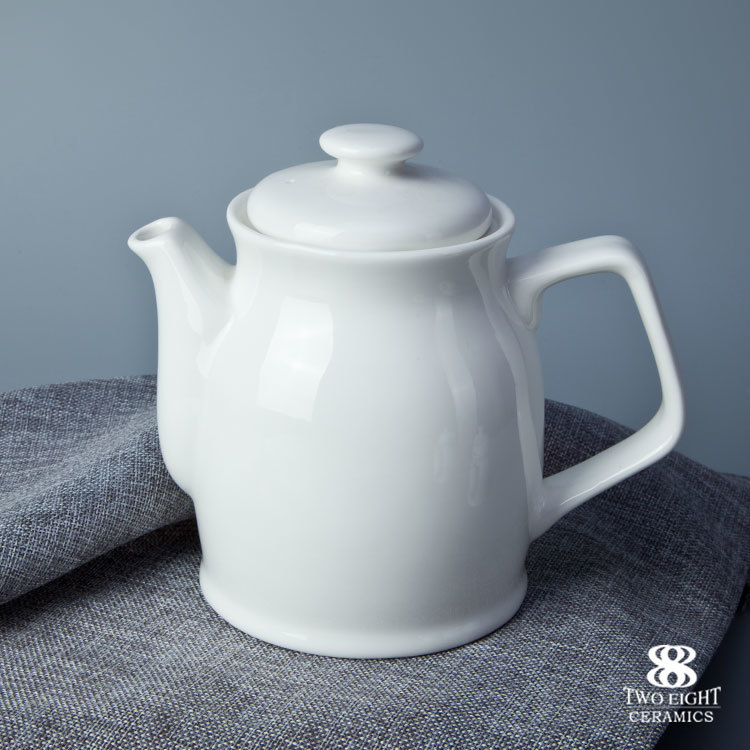 Pop design chinese cheap 1100ml white ceramic teapot for banquet hall