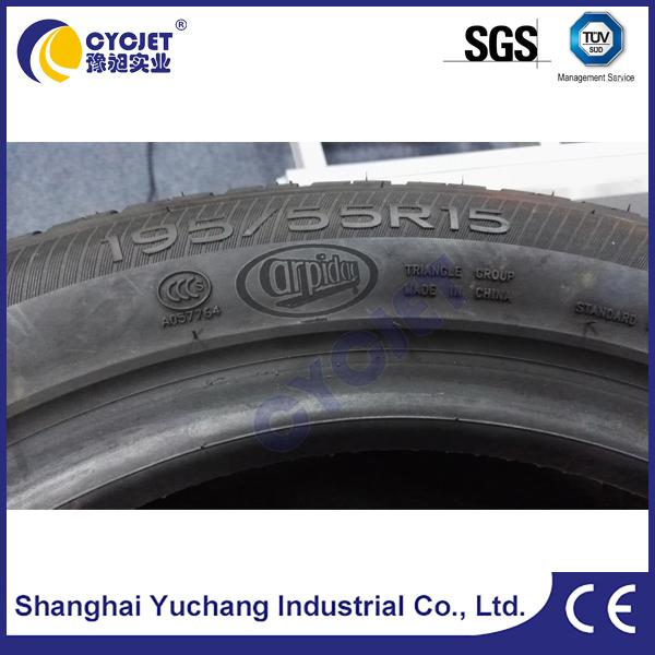 Engraving QR Code on Car Tyres using handheld laser engraving machine