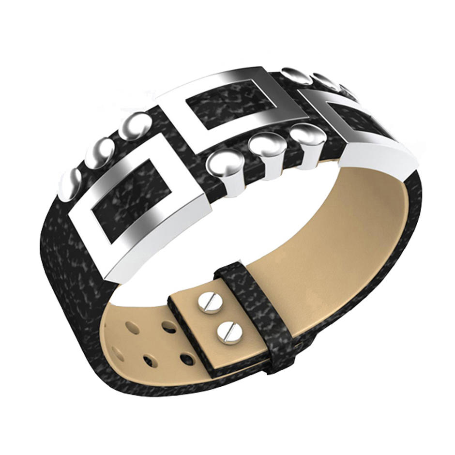 Fashion wholesale leather stainless steel bracelet jewelry bisuteria