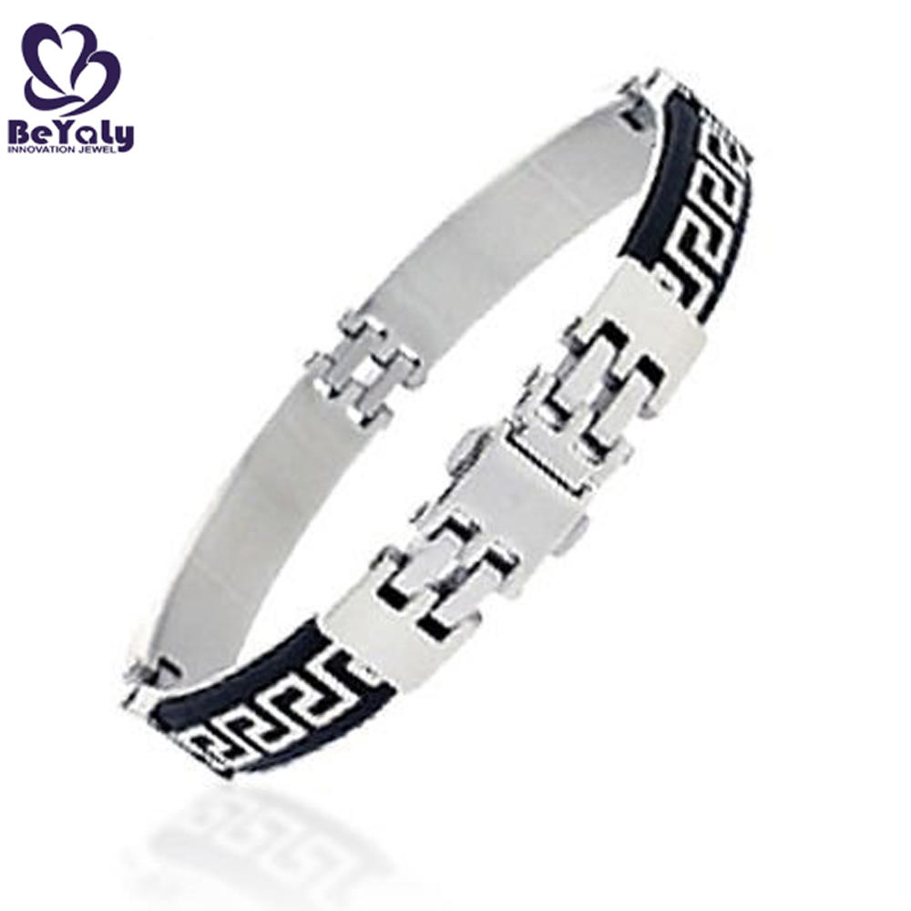 White painting black enamel men cuff bracelet en cuir