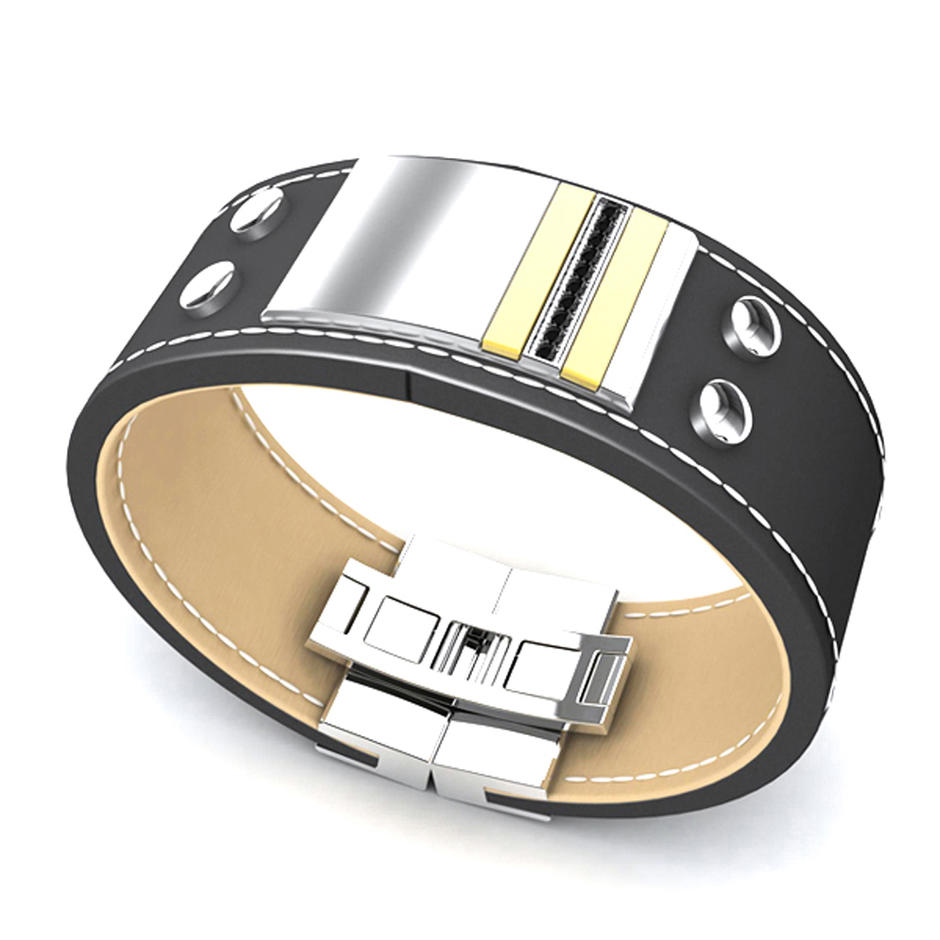Stainless Steel Custom Logo Hand Brown Leather Bracelet For Men