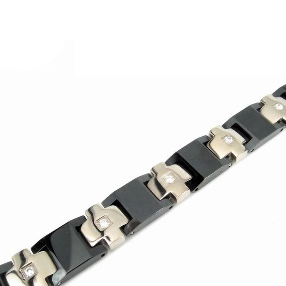 Cheap Men'S Wooden Enamel Side Cross Bracelets