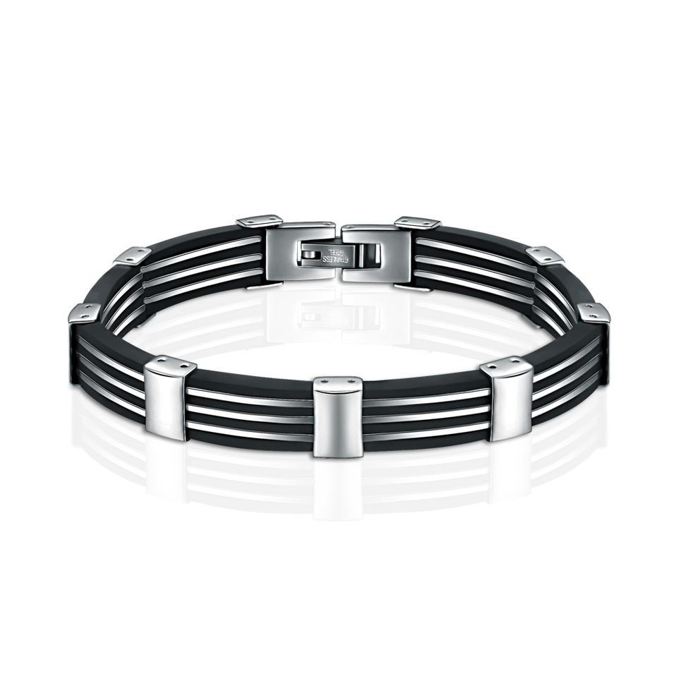 Black Leather White Stripe Design Magnetic Jewelry Bracelet