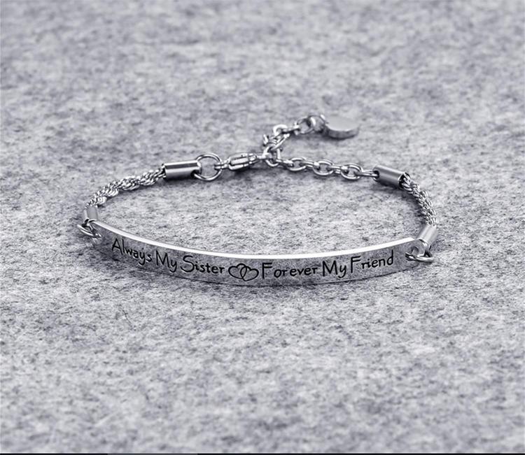 Wholesale stainless steel custom engraved friendship bracelet