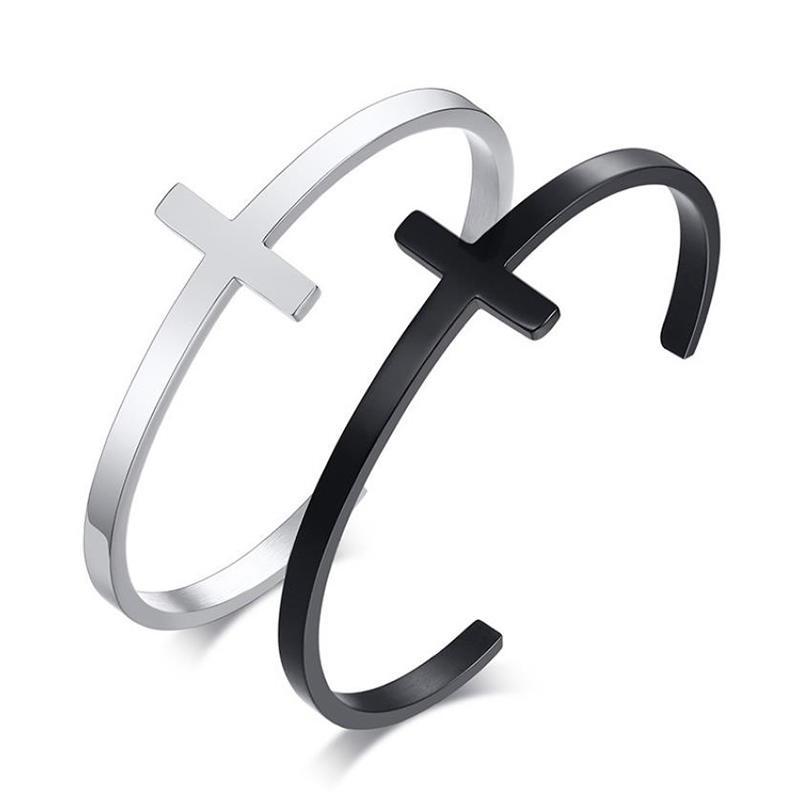 Trendy Fashion Stainless Steel Simple Adjustable Cross Bracelet