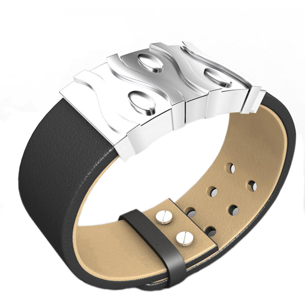 Vintage Style Men Black Wrist Band With Stainless Steel Logo Tag