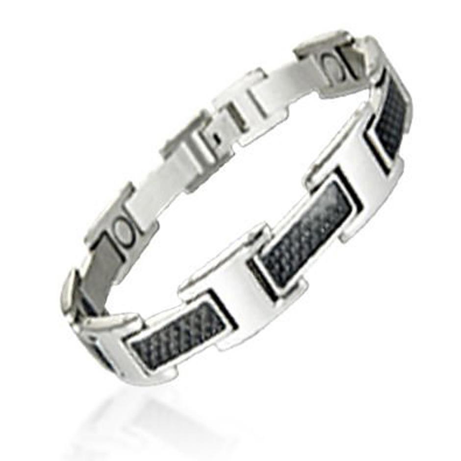 Cheap black enamel stainless steel carbon bracelet