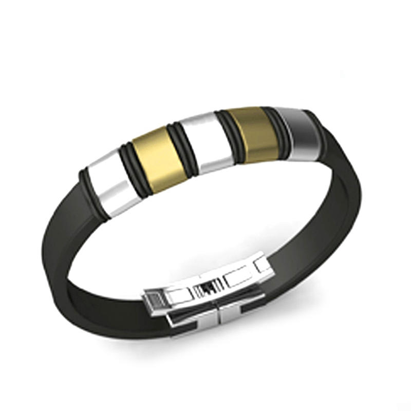 Black Polish Bracelet Easy Style Plain Cuff Bangle For Men