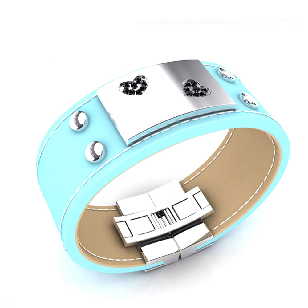 Cheap Cz Blue Enamel Leather Moods Bracelet
