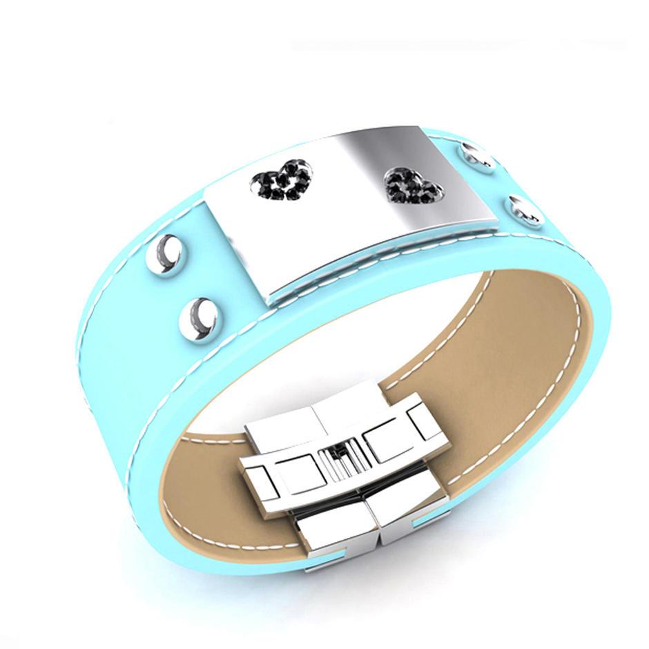 Cheap Cz Blue Enamel Leather Moods Bracelet