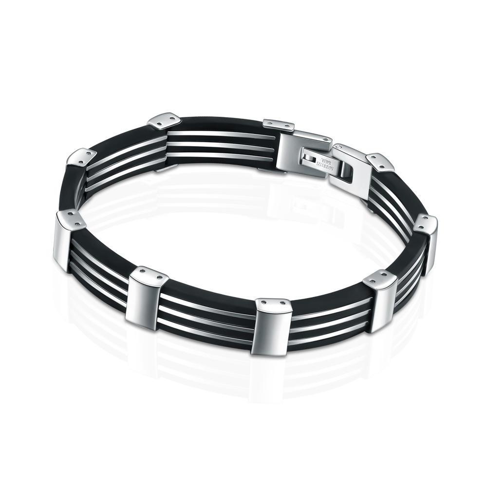 Stainless steel black leather homemade bracelets for men