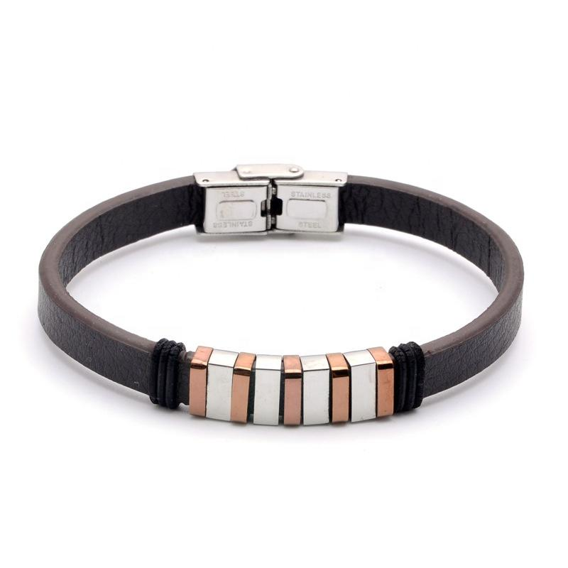 Stainless Steel Two Color Square Beads Black Leather Fret Men Bracelet 2020