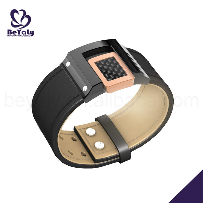 Stainless steel wide wristband black leather bracelet