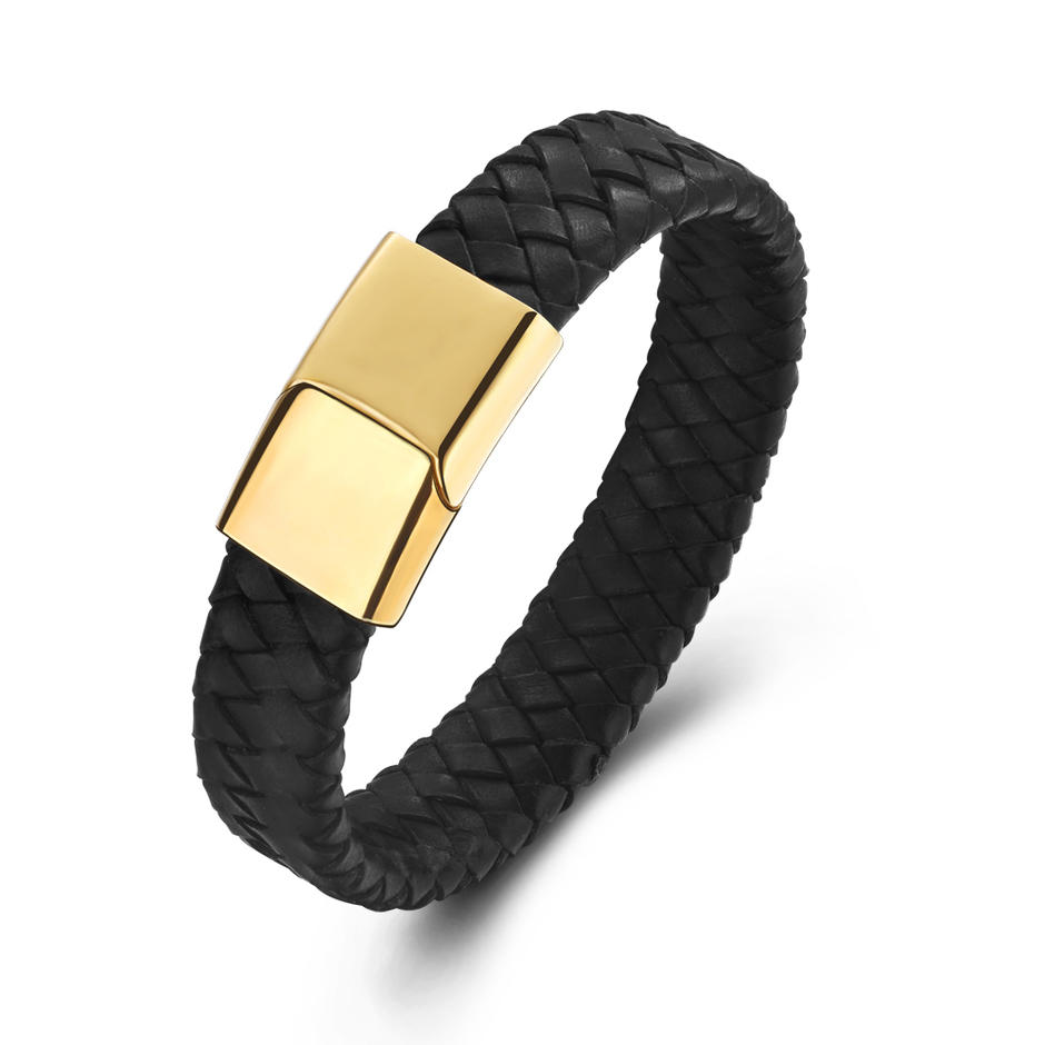 Gold Clasp Men Black Leather Custom Woven Friendship Bracelets
