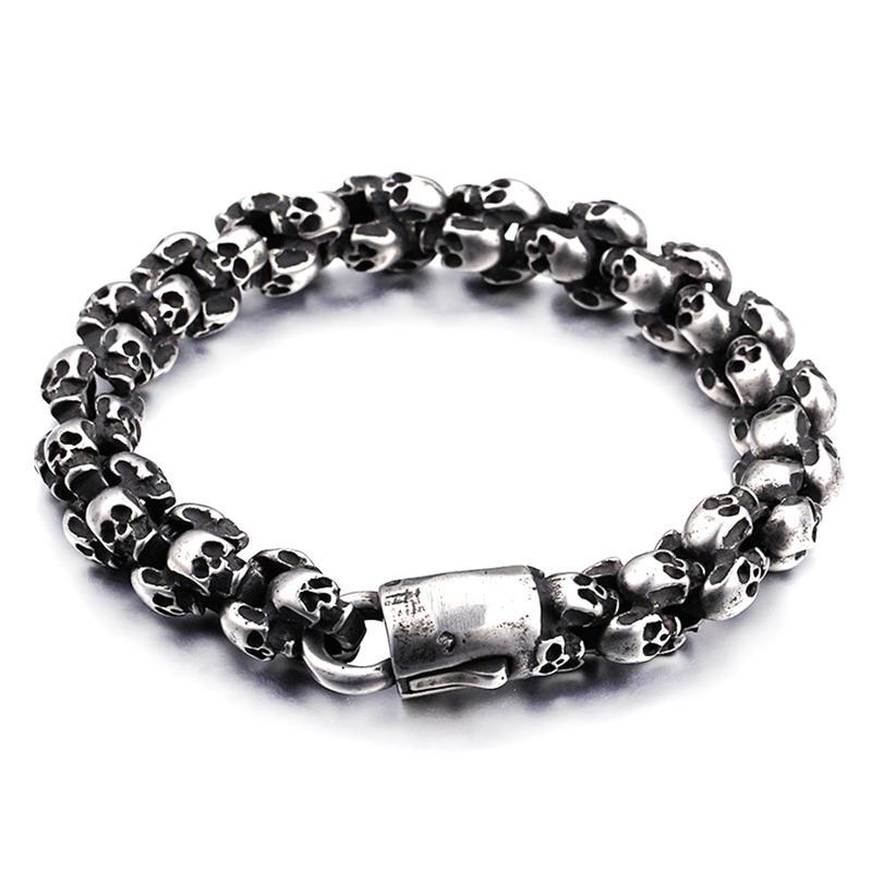 Custom engraved cheap 925 sterling silver bracelet skull