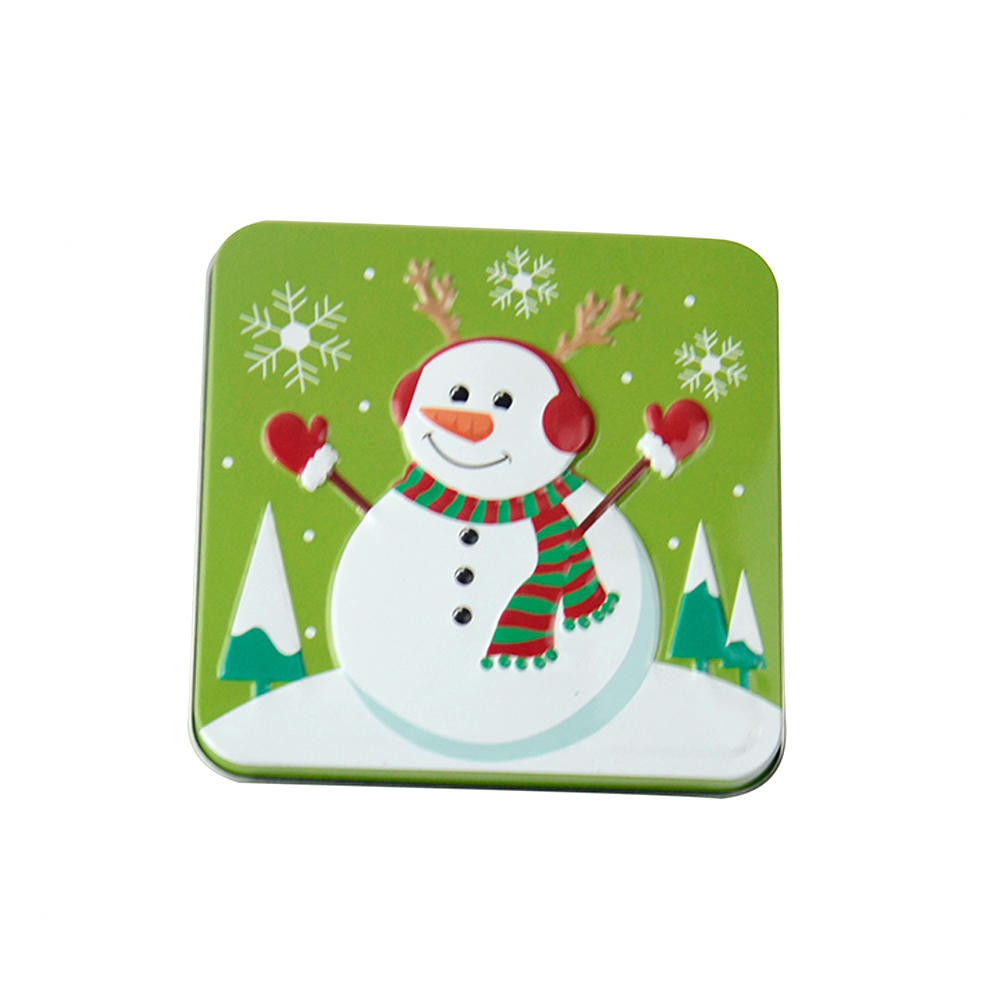 Bodenda customized small size square shape 2-piece metal Christmas coloredgift card tin packingbox