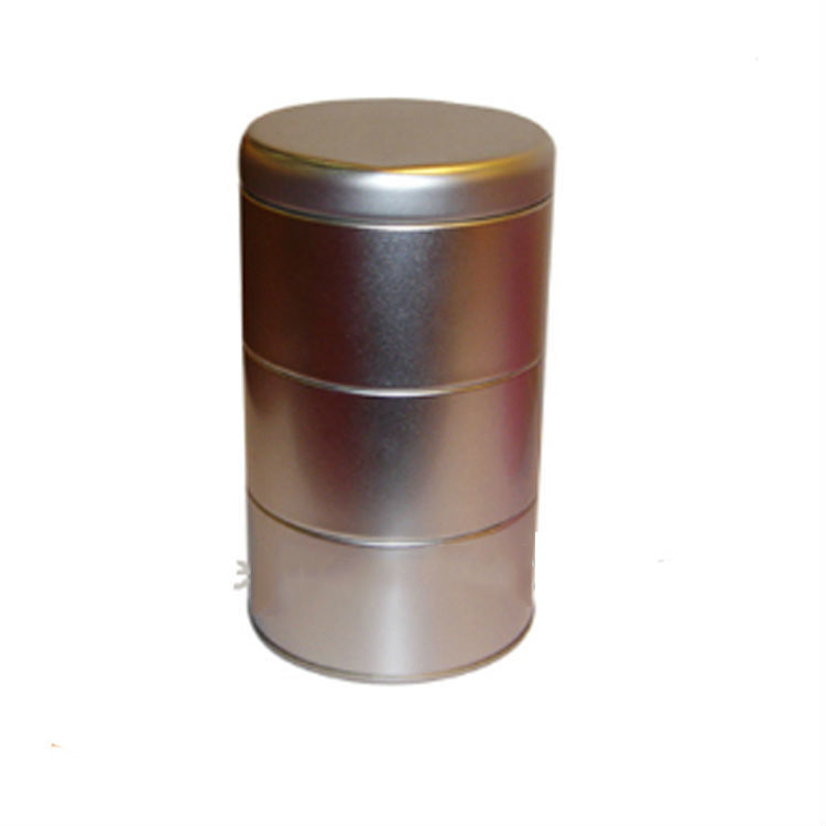 Empty Gold Three layers cylinder cookie container tin can bulk wholesale small round metal packing box