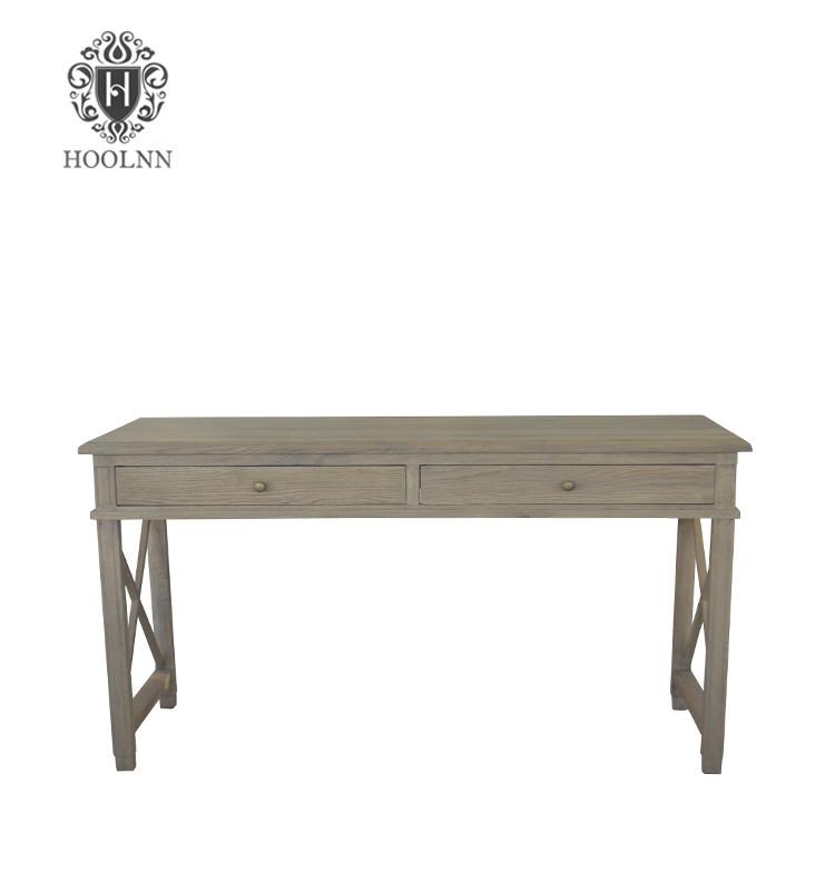French Style Cross Leg Solid Oak Wood Office Desk HL540
