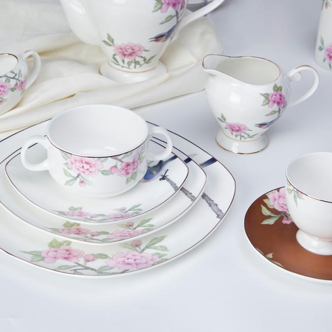 unique hotel restaurant bone china crockery decal dinnerware set
