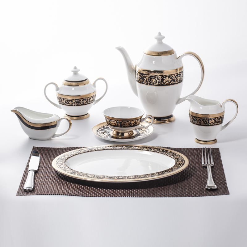 Luxury Crockery Tableware Bone China Decal Dinnerware Set, China Porcelain Gold Dinner Set&