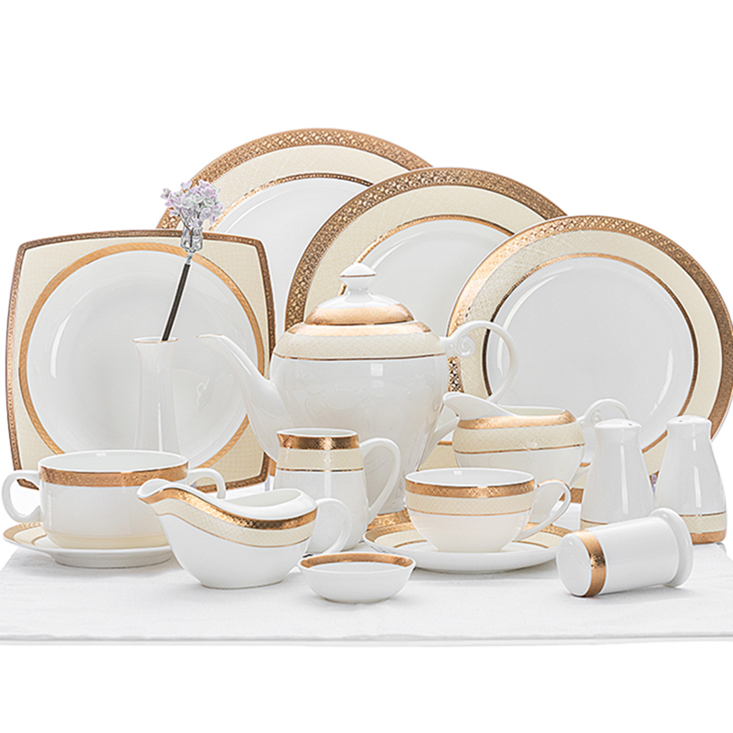 High Quality Hotel Dinner Set Royal Fine China, Hot Sale Restaurant Dinner Set Dinner Plate Set With Gold Rim@