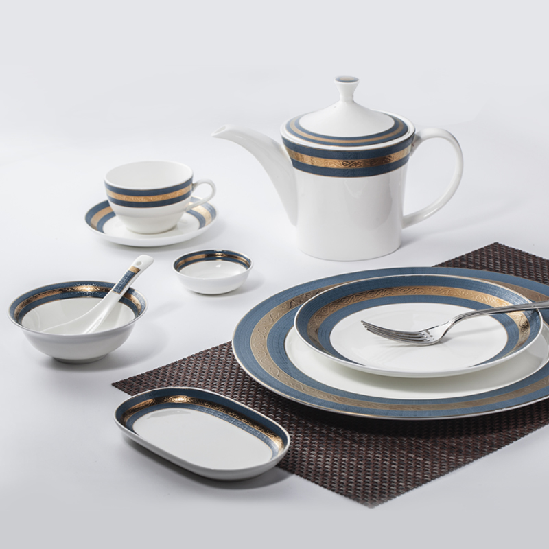 Restaurant Supply Crockery Tableware Decal Bone China Dinnerware Set, China Porcelain Embossed Dinner Set*