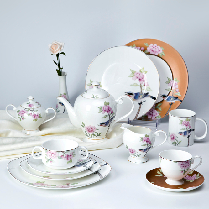 unique hotel restaurant bone china crockery decal dinnerware set