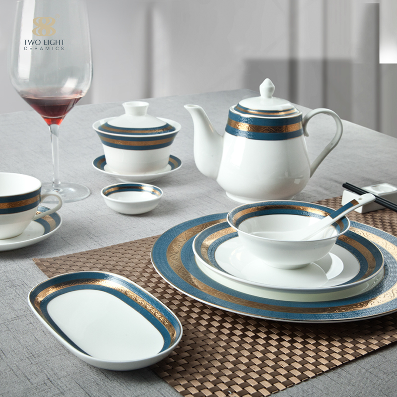 Dubai Mid East Persian decorative blue gold and bone china crockery setsserving dishes plate for hotel