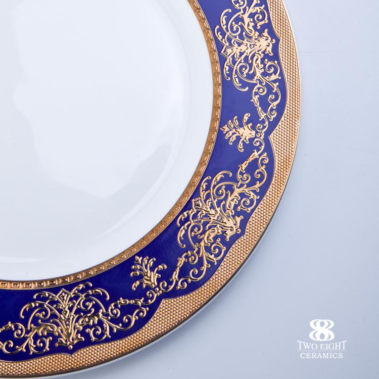 2017 new style decal embossed bone china crockery 12