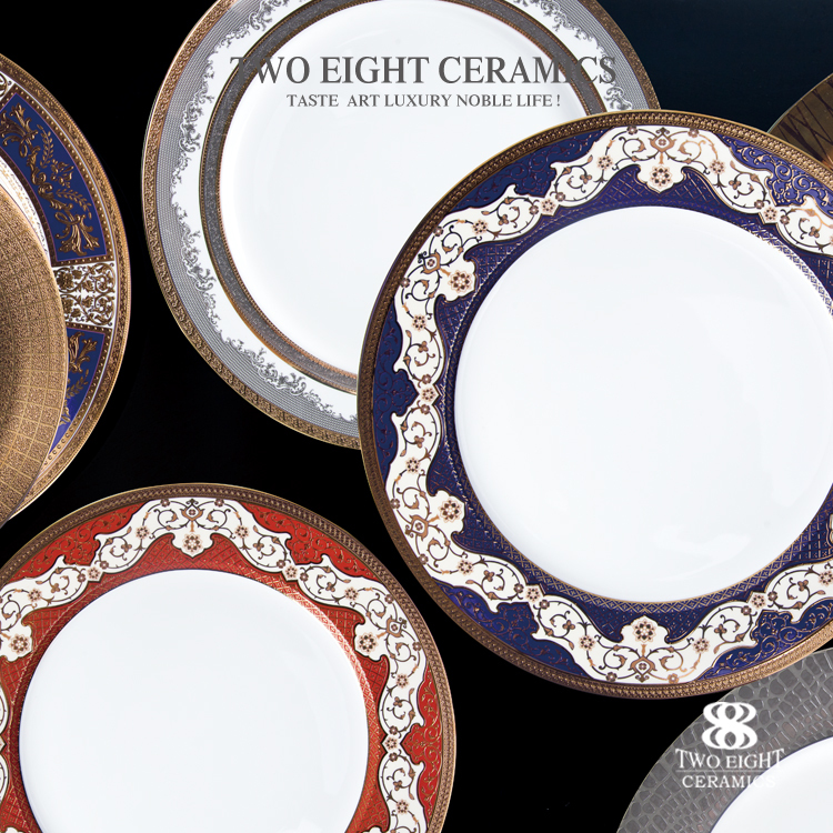 restaurant hotel supplies elegant ceramic charger plates wholesale with gold decal color serving plate for star hotel