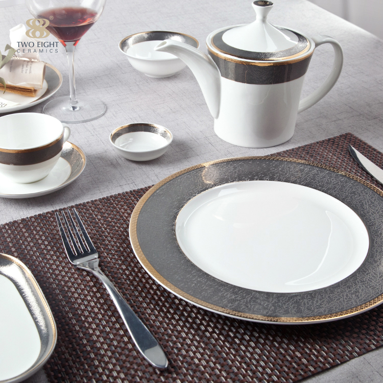 restaurant persian decorative blue and white china porcelain dinnerware serving dishes plate sets