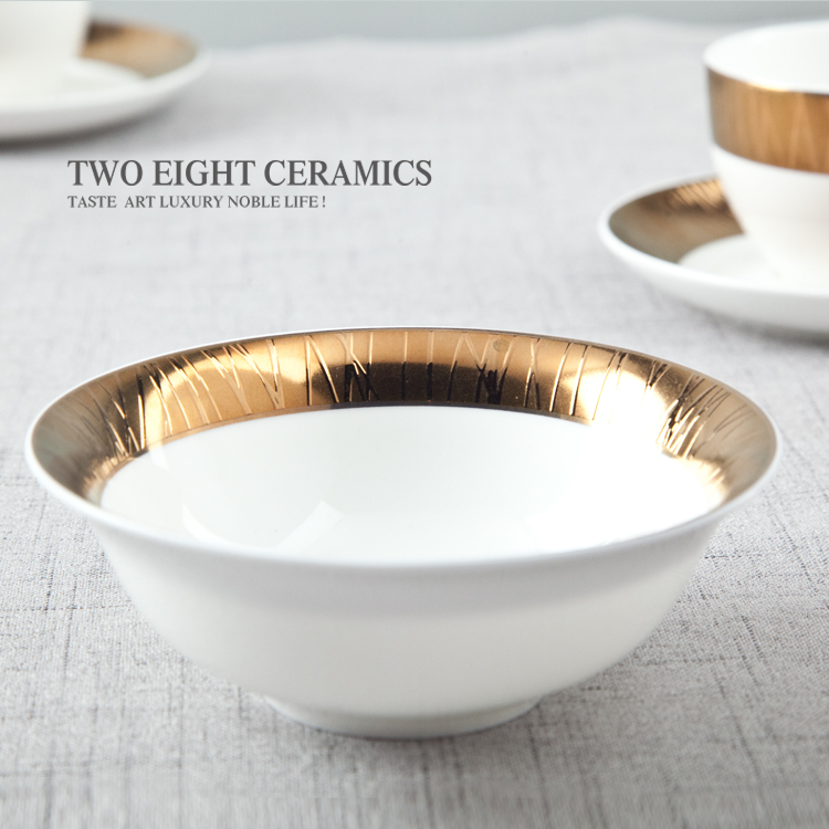 Dubai elegant high range Persian gold bone china crockery ceramic dishes for hotel