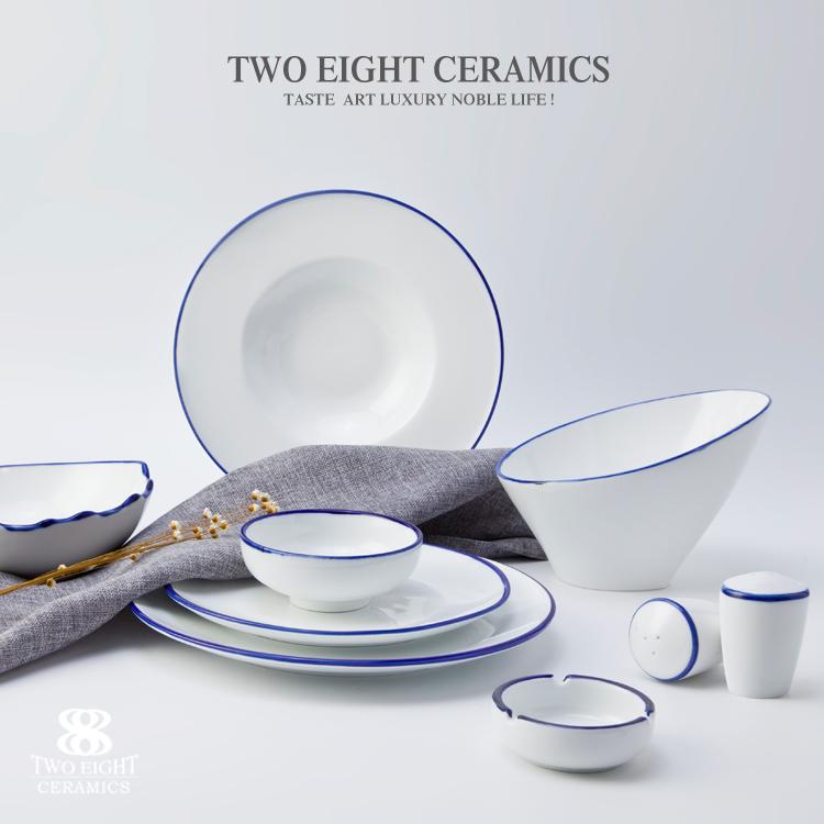 wholesale white royal hotel restaurant wedding porcelain ceramic plate with blue rim