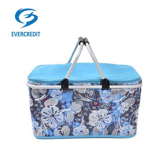Promotional folding picnic basket, portable folding basket, folding shopping basket