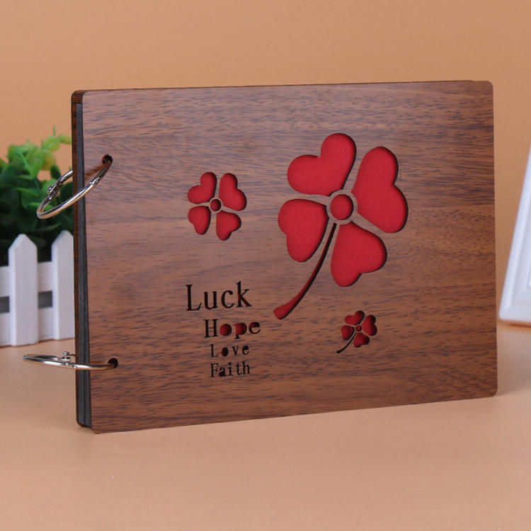 product-Dezheng-2 Ring Binding Wooden Cover Baby Design Photo Album Scrapbook With 29 Sheets Black P-1