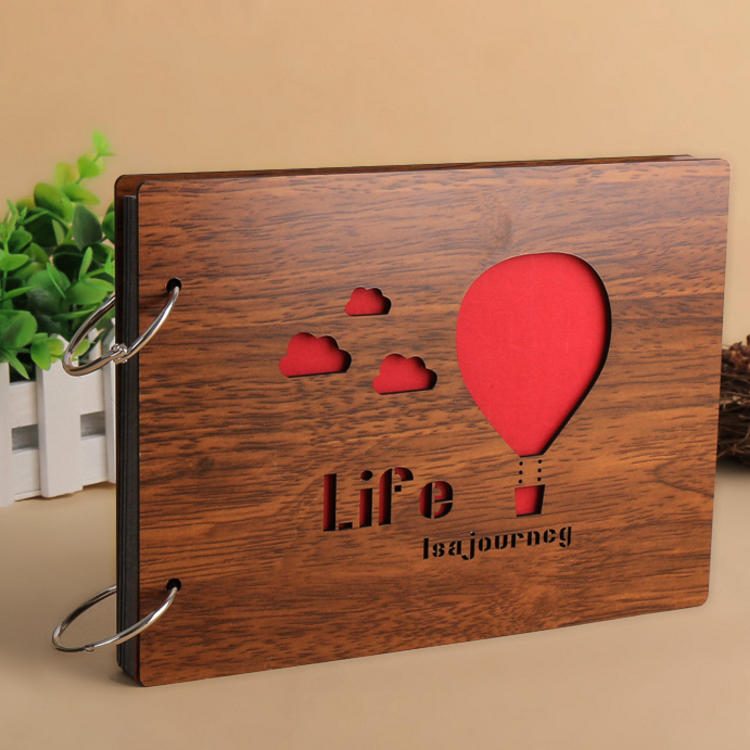 Wooden Cover Loose-Leaf Ring Binding DIY Photo Album For Lovers
