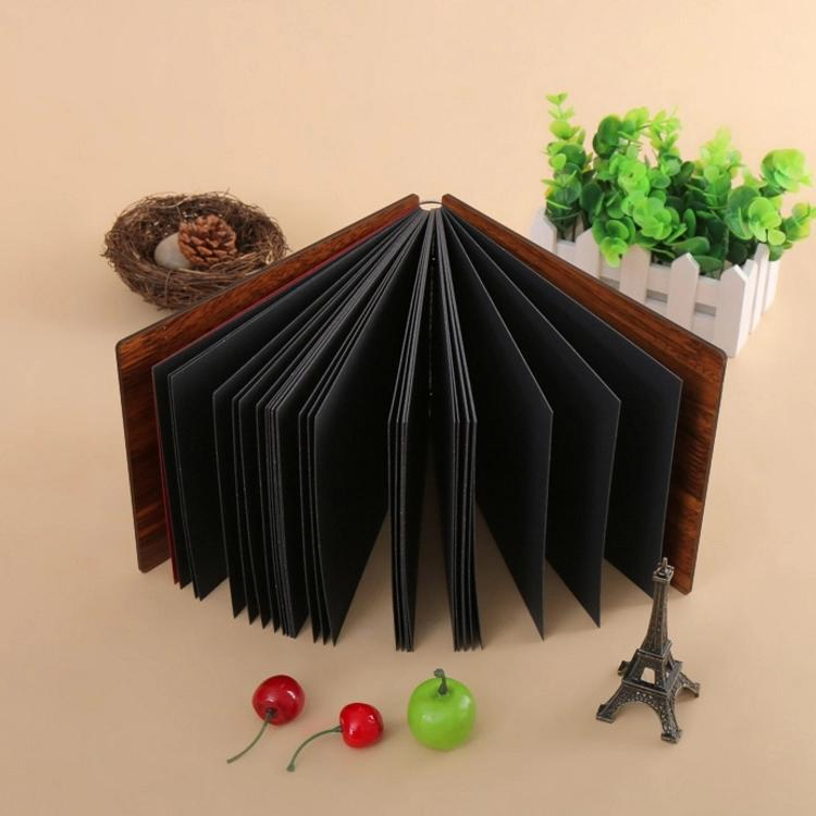 product-Dezheng-Waterproof Cover Ring Binding 6x8 Wood Carved Photo Album With 250 GSM Black Pages-i-1