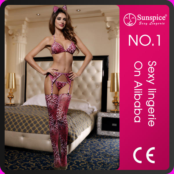 Cheap Wholesale Pink Catsuit Erotic Lingerie with Stocking